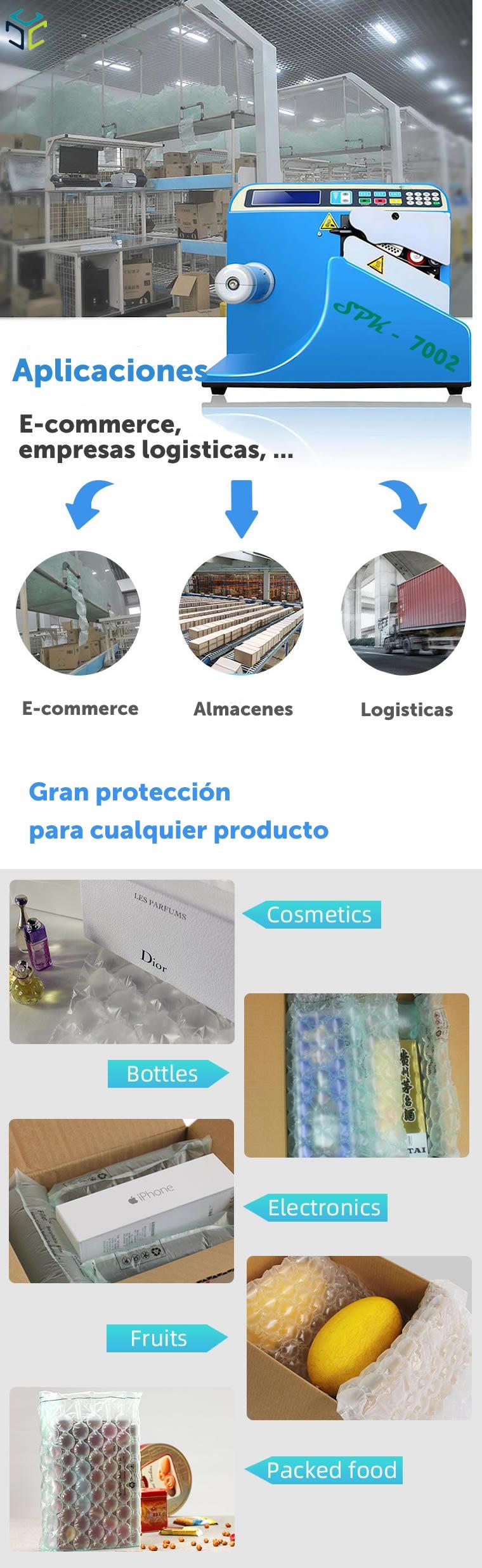 relleno proteccion bolsa aire ecologico compostable spk 7002 aplicaciones
