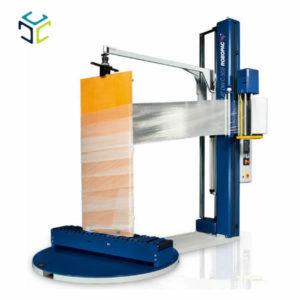 envolvedora semiautomática para el embalaje de puertas y ventanas, disponibles también con transportador de rodillos libres y dispositivos para la fijación manual del producto.