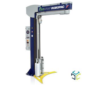 Envolvedora semiautomática de brazo giratorio para la estabilización de cargas inestables y pesadas.